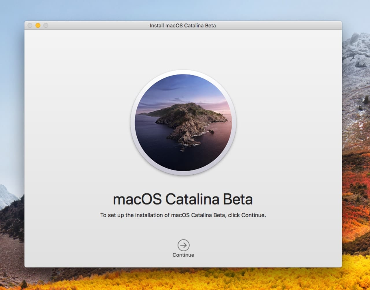 The macOS Catalina installer welcome screen.