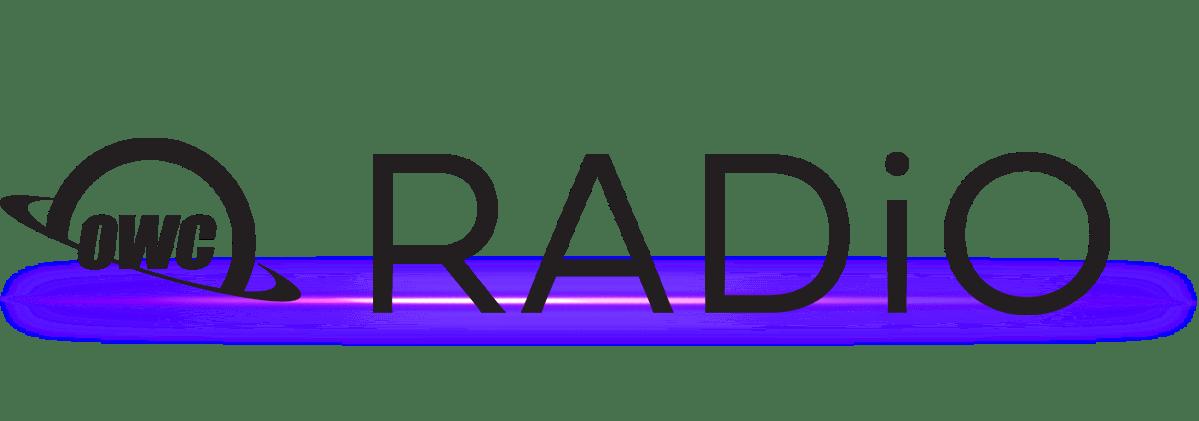 OWC RADiO logo - black on white with flare