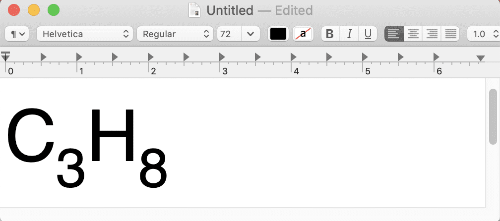 The formula after changing the font size on the numbers