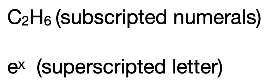 Examples of superscripts and subscripts