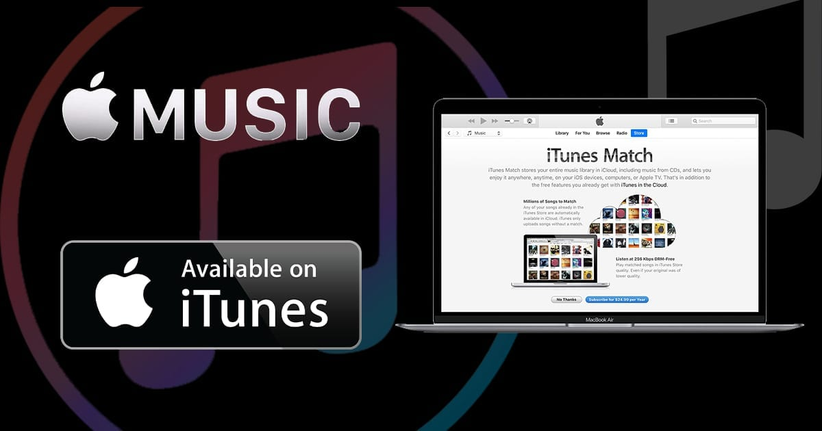 Graphic showing Apple Music logo, Subscribe in iTunes button and iTunes Match screenshot of computer