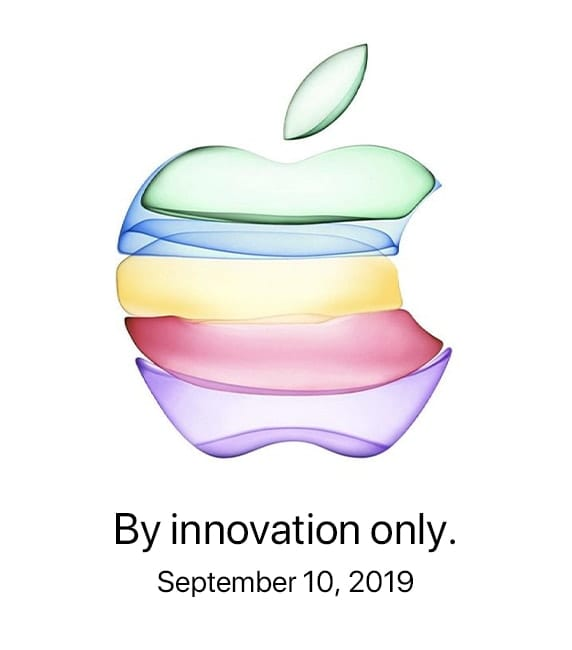 "Colored apple logo with text saying ""by innovation only"""