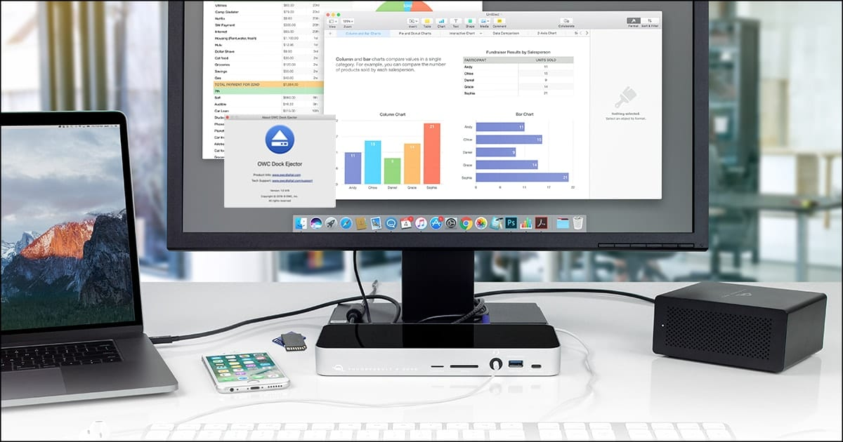 Image of OWC Docks, mackbook pro and iMac with OWC Dock Ejector software.