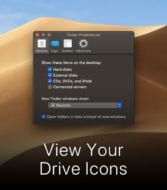 """macos mojave desktop with finder preferences window and text that says """"view your drive icons"""""""