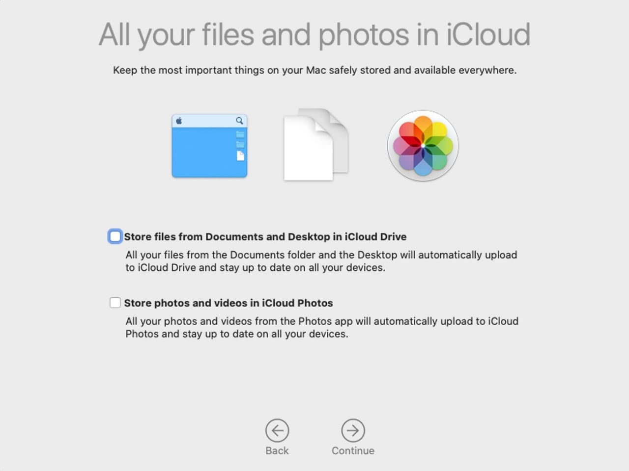 You can choose to store some of your files in iCloud.