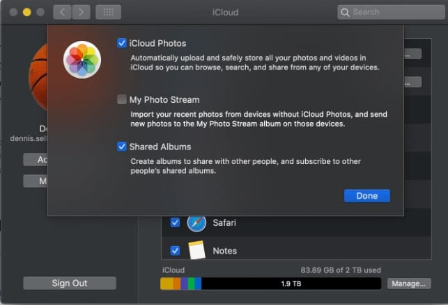 Screenshot of iCloud photos modal window in Preferences