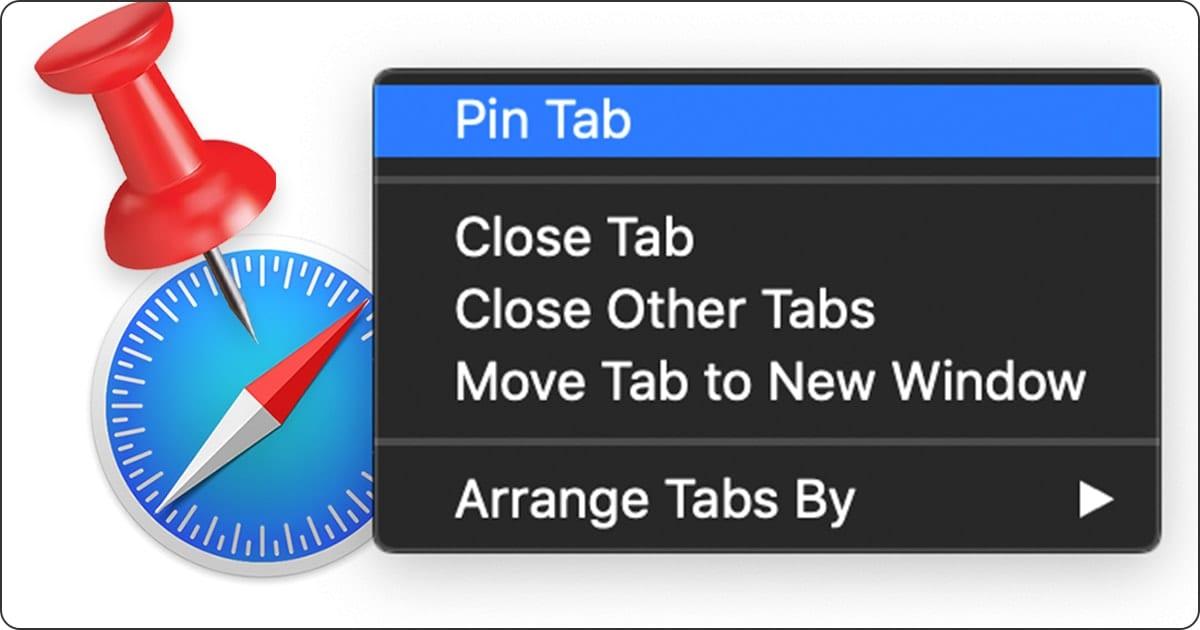 Screengot of pin tab menu with safari logo and pin icon