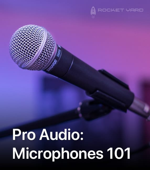 "Image of a Shure SM58 on a purple background with text that says ""Pro Audio: Microphones 101"""