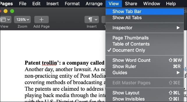 "Screen shot of Mac Pages View menu with ""Show Tab Bar"" selected."