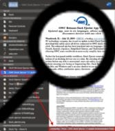 Magnifying glass over spotlight search window results