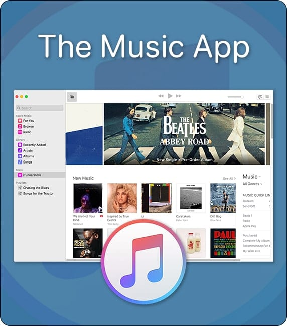 Apple's new Music App overlaid with iTunes logo