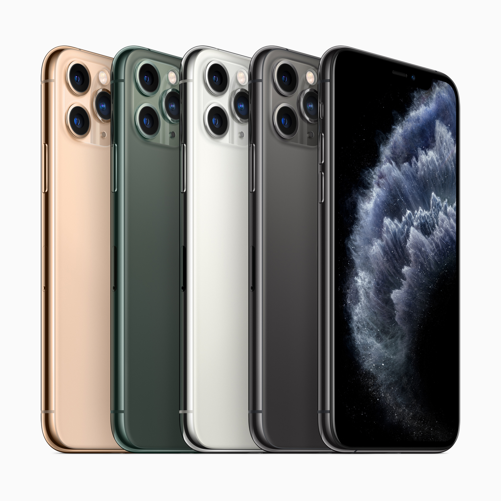 From right: gold, midnight green, silver, and space gray iPhone 11 Pro. Images via Apple