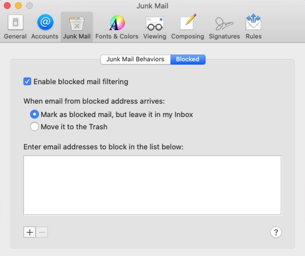 Mail supports blocking a sender in macOS Catalina.
