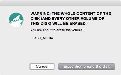 Disk Maker X Erase Warning