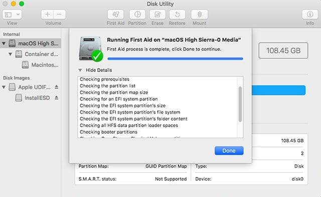 Disk Utility's First Aid feature used to check the health of a Mac's drive.