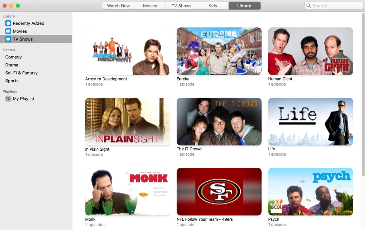 Apple TV App Library view