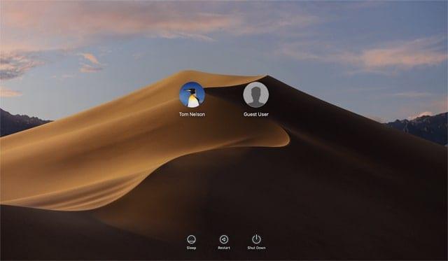 macOS Mojave Login Screen
