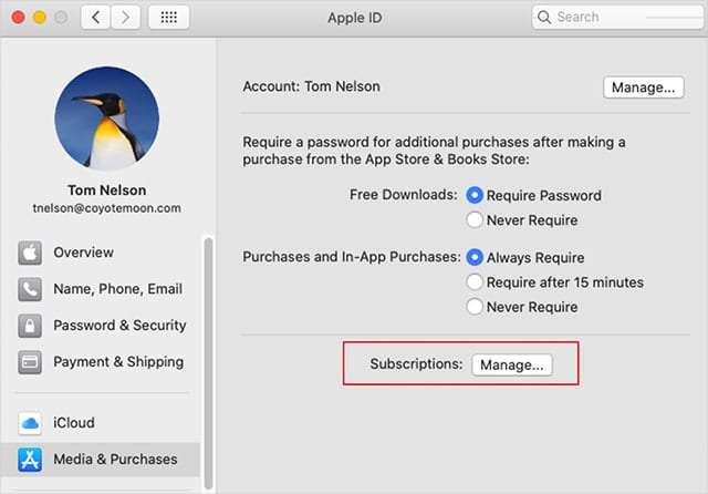 Mange your Apple Channel subscription from the Apple ID preference pane.