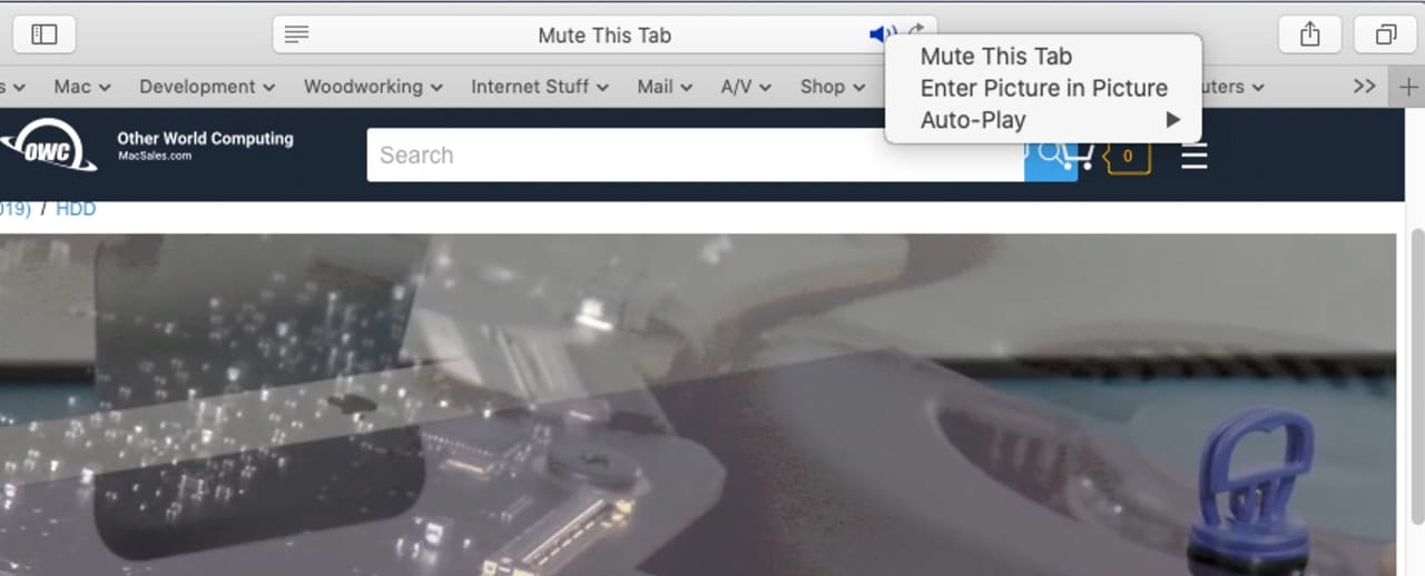 Use the speaker icon in Safari's URL bar to watch a video in in a seperate window.