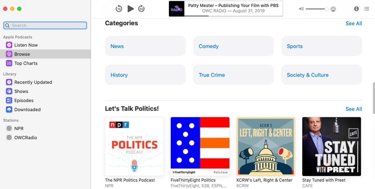 Use the sidebar to access the Apple Podcasts library.