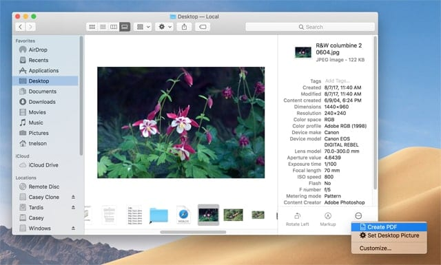 The Finder's new Gallery View showing the images metadata