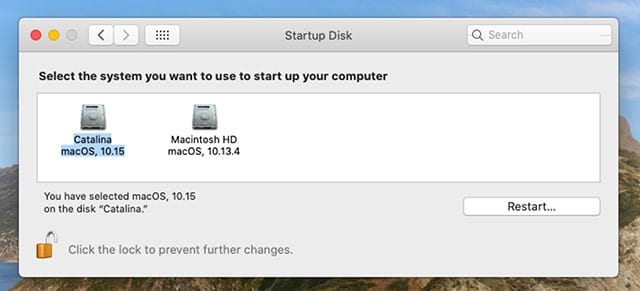 Startup Disk preference pane.