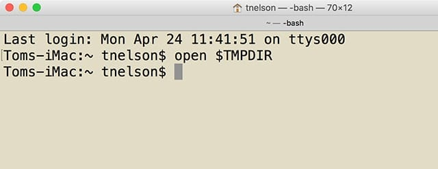 "Terminal's ""open"" command can be used to view the directories being used by the system for temporary storage."