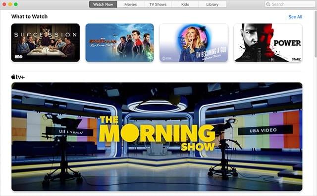 Apple TV App's Watch Now tab