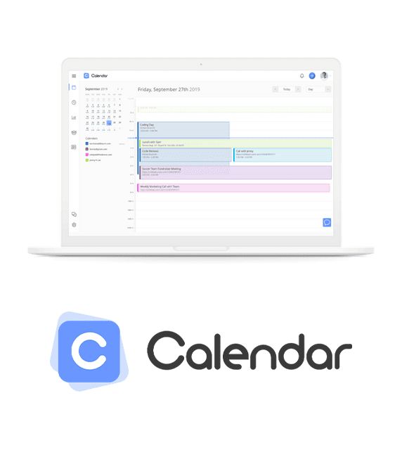 calendar app on laptop with logo