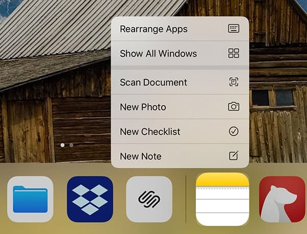 """Tap and hold on the Notes app icon to rearrange apps (""""jiggle mode""""), show all Windows (Exposé), create new checklists or not, or take a photo or scan a document."""