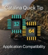 "Catalina Isalnd with text ""catalina quick tips: application compatibility"" and images of 32-bit and 64-bit symbols"
