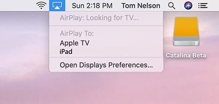 AirPlay menu showing iPad as a selection for second display.
