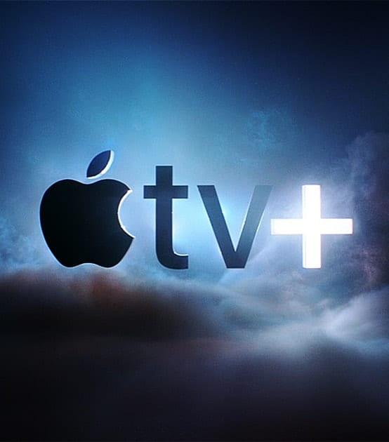 Apple TV Plus logo over clouds