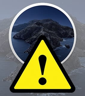 Yellow caution triangle with dark catalina icon