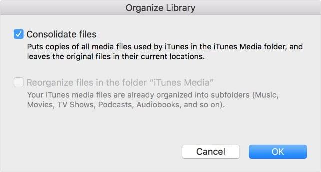 Screenshot of Organize Library modal window