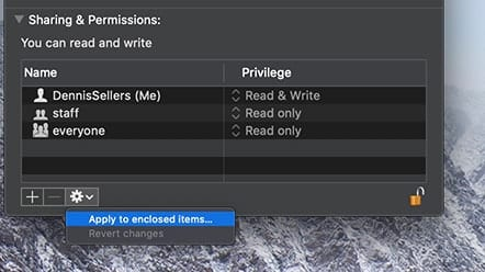 Screenshot of Mac Sharing & Permissions