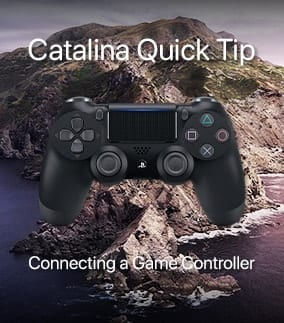 """Image of a Dualshock 4 controller with catalina island and text """"Catalina Quick Tip: Connecting a Game Controller"""""""