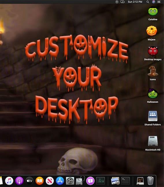 """Screenshot of halloween mac desktop saying """"customize your desktop"""""""