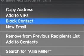 """Screenshot of """"Block Contact"""" menu item in macOS Catalina"""