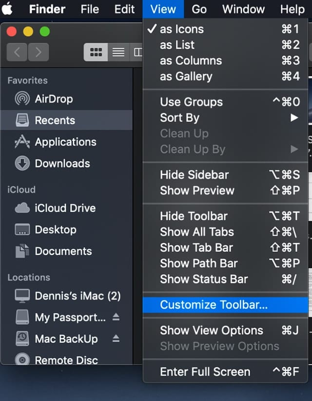 Scrrenshot of Mac Finder view menu with Customize Toolbar selected