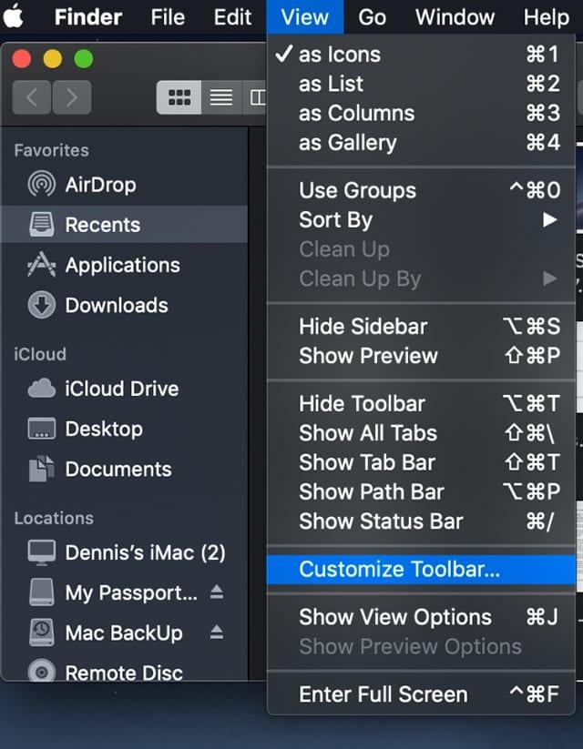 Scrrenshot of Mac Finder view menu with Customize Toolbar selected