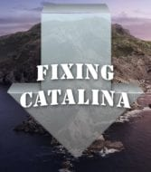 "catalina island with install arrow and text saying ""Fixing Catalina"""