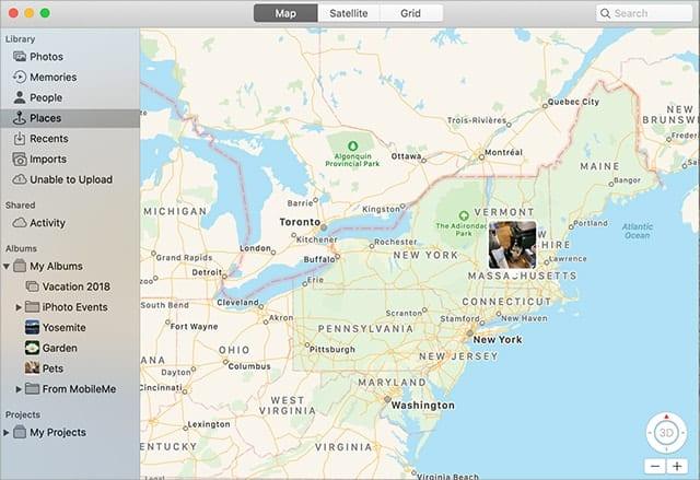 Screenshot of Photos map view