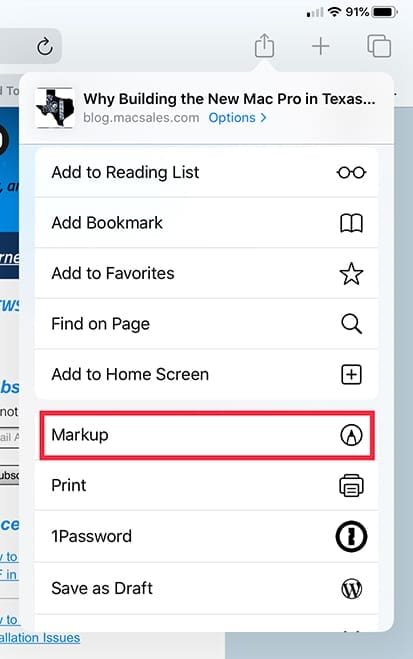 Screenshot of Safari share menu with Markup highlighted in iPadOS 13