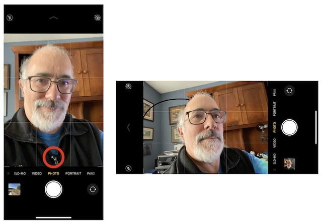 Manually switch between close and wide-angle selfies by tapping the arrows button, or just rotate the camera to a horizontal view.