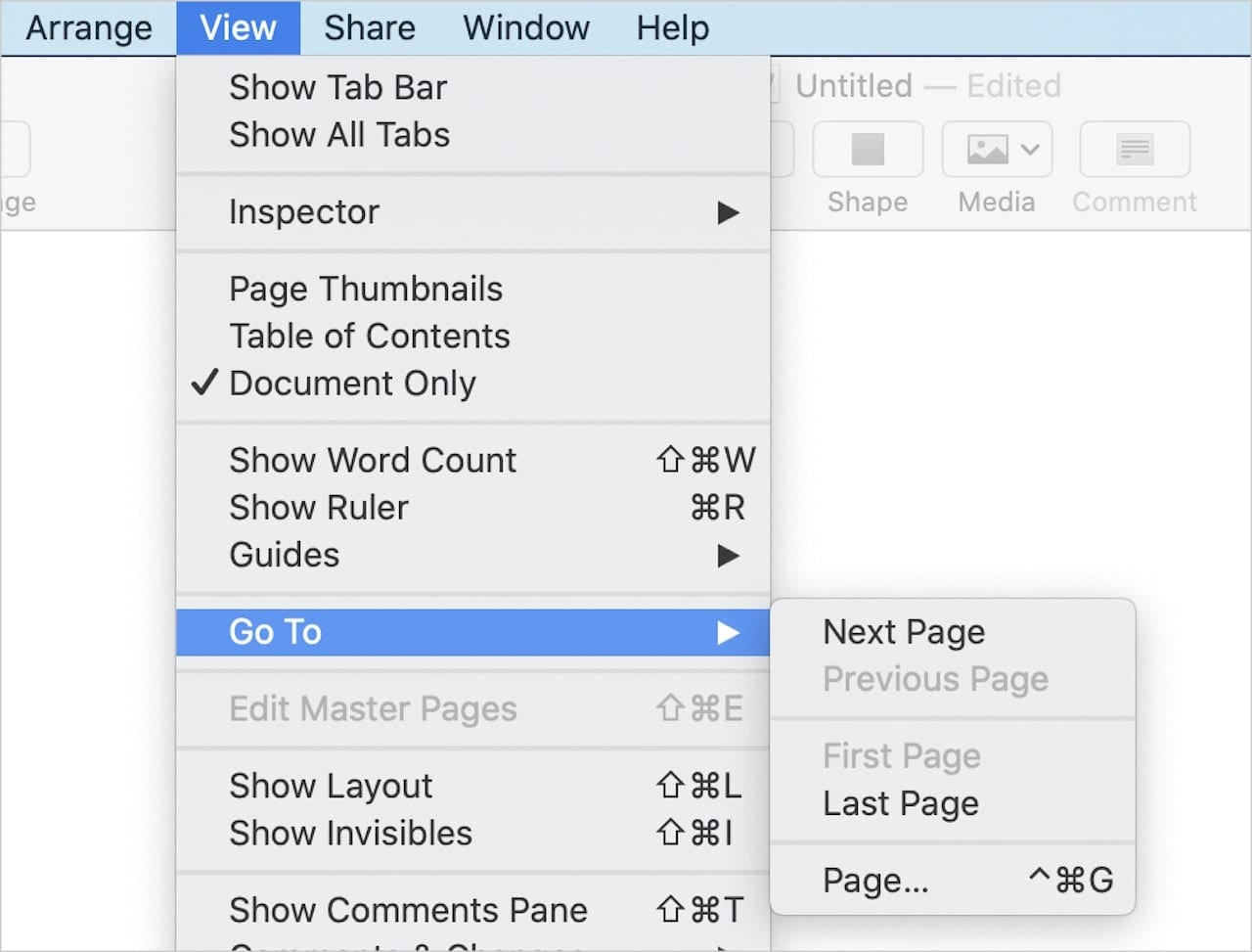 New Pages menu command: View > Go To > Page...