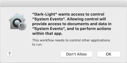 Click OK to give your app access to control System Events