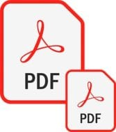 Two PDF icons, one larger and one smaller indicating compression or reduction in file size
