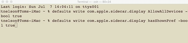Use Terminal to enable Sidecar on older Macs.