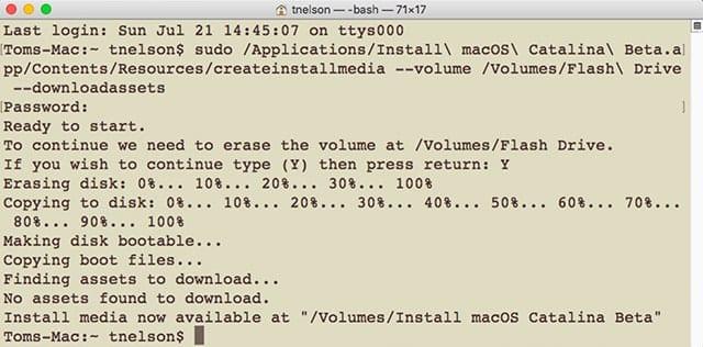 Terminal executing the createinstallmedia command.